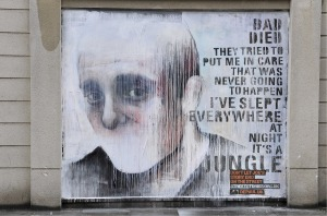 Homeless street art with saying