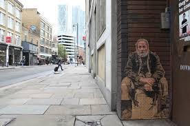 Street art homeless guy